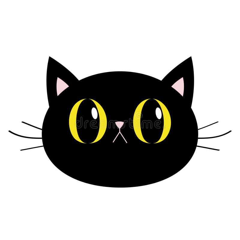 Icône de tête ronde du chat noir Grands yeux jaunes Nez rose, oreilles Personnage de dessin humoristique mignon Triste émotion Ba illustration de vecteur