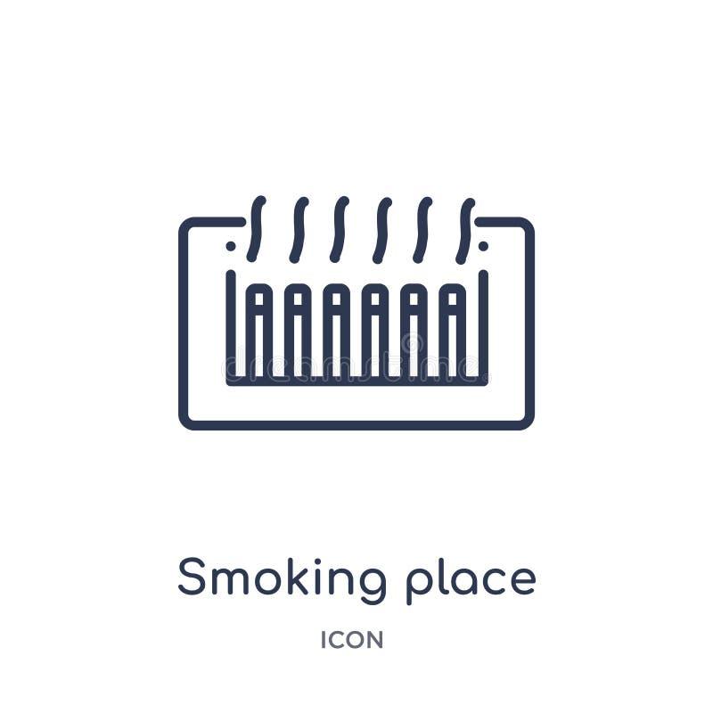 Icône de tabagisme linéaire d'endroit collection de cartes et de drapeaux d'ensemble Ligne mince icône de tabagisme d'endroit d'i illustration de vecteur