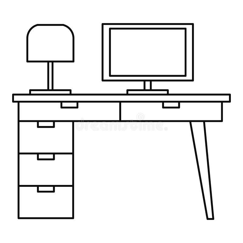 Icône de table d'ordinateur, style d'ensemble illustration de vecteur
