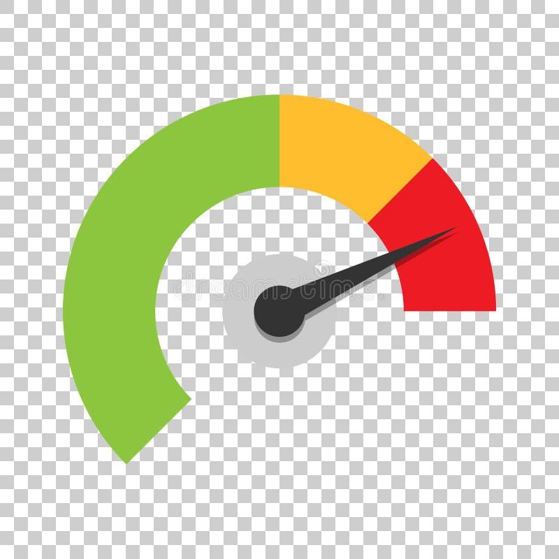 Icône de tableau de bord de mètre dans le style plat Niveau d'indicateur de score de crédit illustration libre de droits