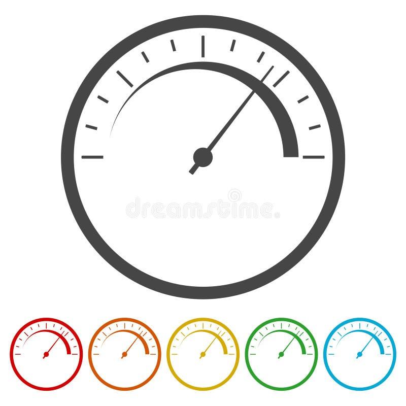 Icône de tachymètre symbole abstrait de vitesse illustration stock
