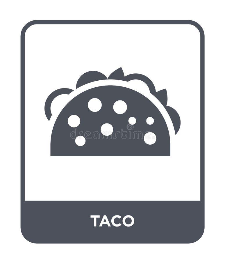 icône de taco dans le style à la mode de conception Icône de Taco d'isolement sur le fond blanc symbole plat simple et moderne d' illustration stock