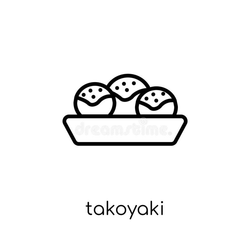 Icône de Takoyaki de collection de restaurant illustration libre de droits
