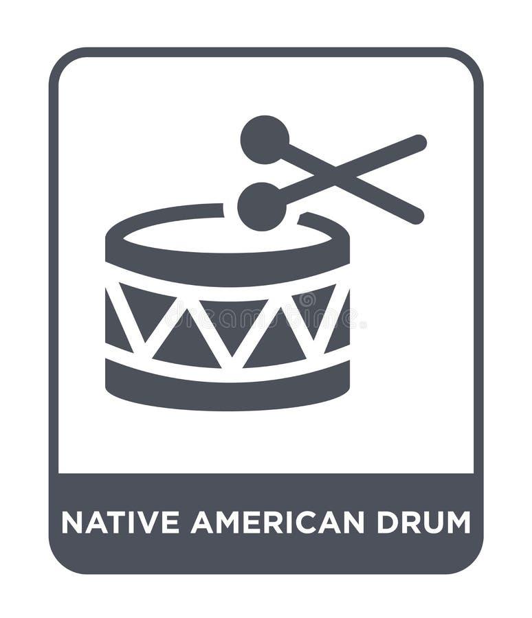 icône de tambour de natif américain dans le style à la mode de conception icône de tambour de natif américain d'isolement sur le  illustration libre de droits