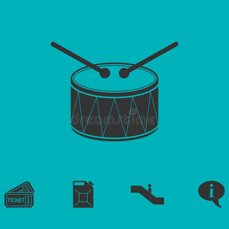 Icône de tambour plate illustration stock