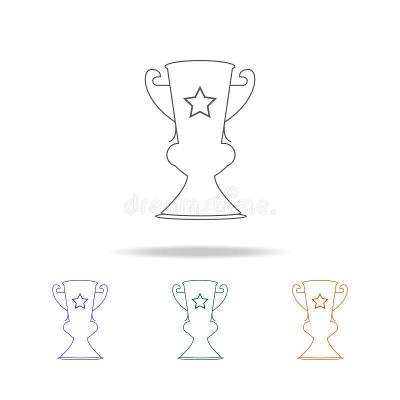 Icône de tasse de gagnant Élément d'icône colorée multi de prix pour les apps mobiles de concept et de Web Ligne mince icône pour illustration stock
