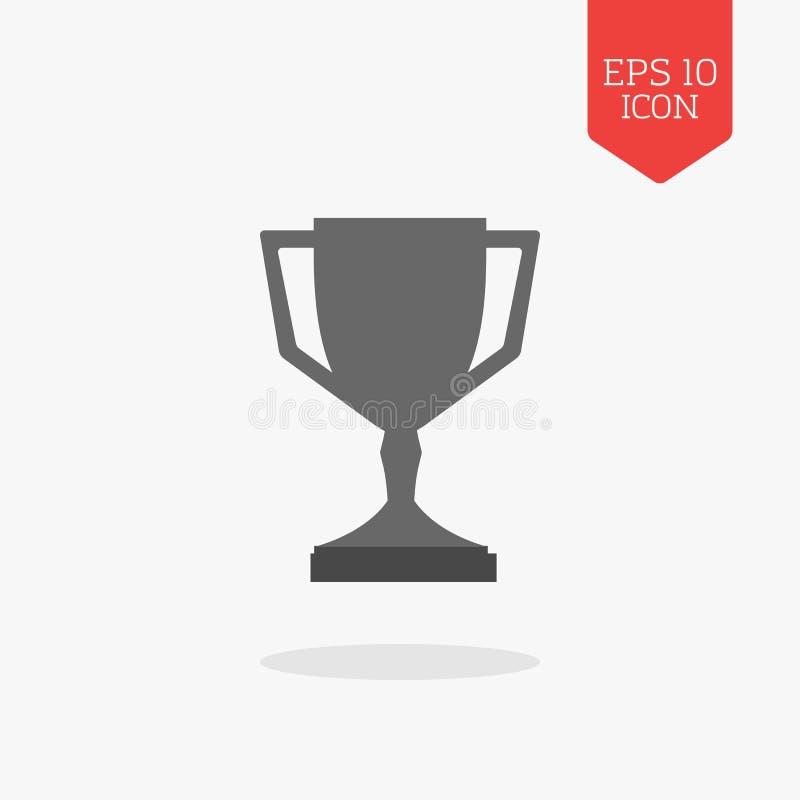 Icône de tasse de trophée, concept de récompense de gagnant Couleur grise de conception plate sy illustration libre de droits
