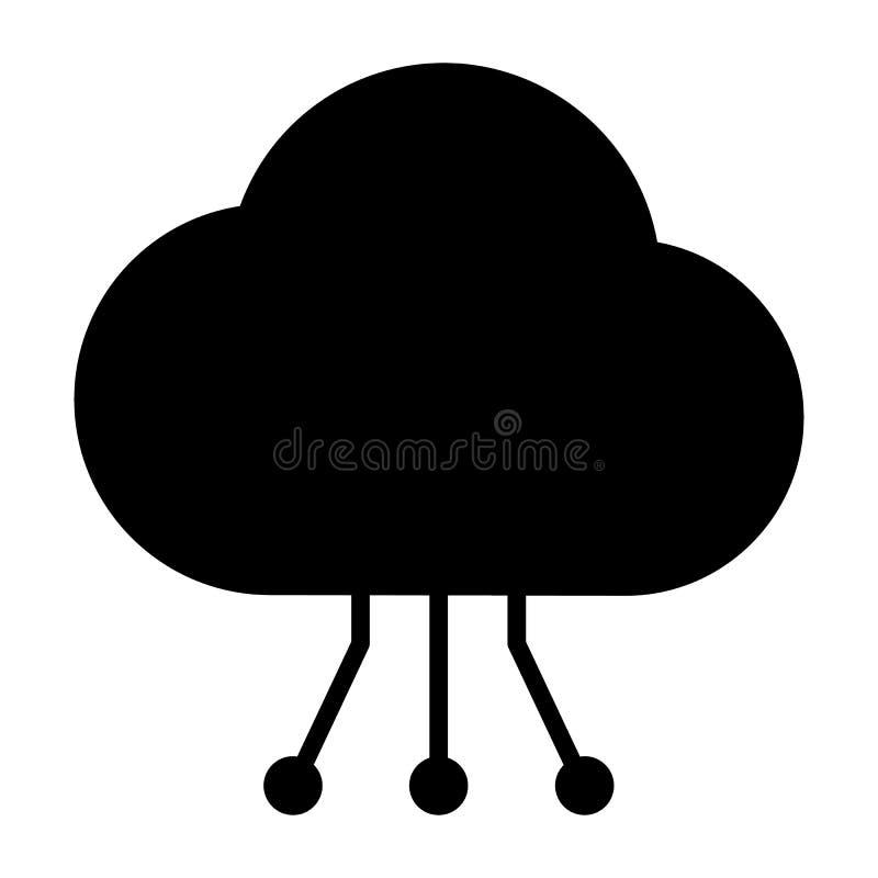 Icône de technologie de nuage avec le modèle de circuit Pictogramme 96x96 minimal simple de vecteur illustration stock