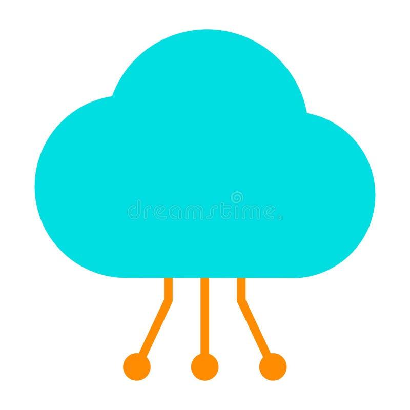Icône de technologie de nuage avec le modèle de circuit Pictogramme 96x96 minimal simple de vecteur illustration de vecteur