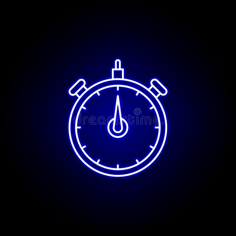 icône de temps d'horloge de chronomètre dans le style au néon bleu Éléments d'icône d'illustration de temps Des signes, symboles  illustration libre de droits
