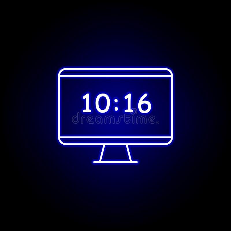 icône de temps d'horloge de moniteur de PC dans le style au néon bleu Éléments d'icône d'illustration de temps Des signes, symbol illustration libre de droits