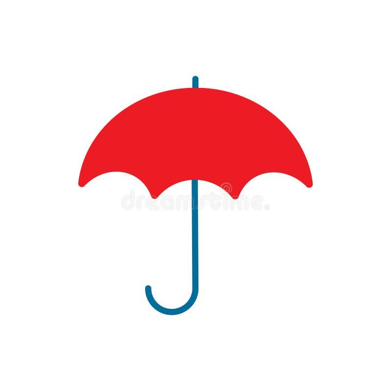 Icône de temps de noir de parapluie Illustration plate de vecteur photographie stock libre de droits
