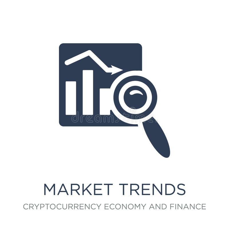 Icône de tendances du marché Icône plate à la mode de tendances du marché de vecteur sur le whi illustration de vecteur