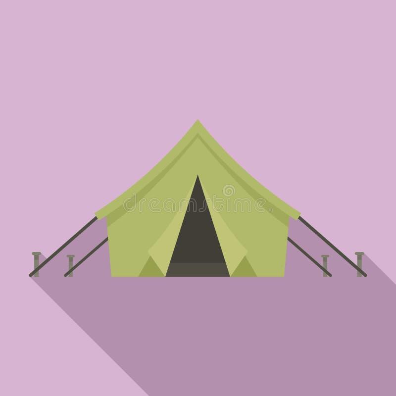 Icône de tente de chasseur, style plat illustration stock