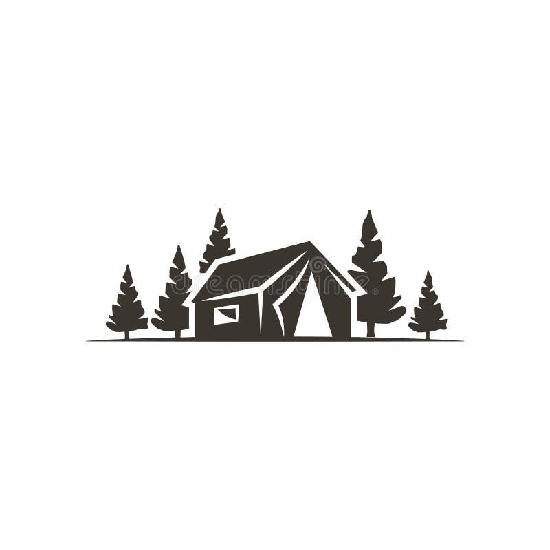 Icône de tente d'isolement sur le fond blanc Symbole solide d'aventure Conception monochrome Utilisation pour la création de logo illustration libre de droits
