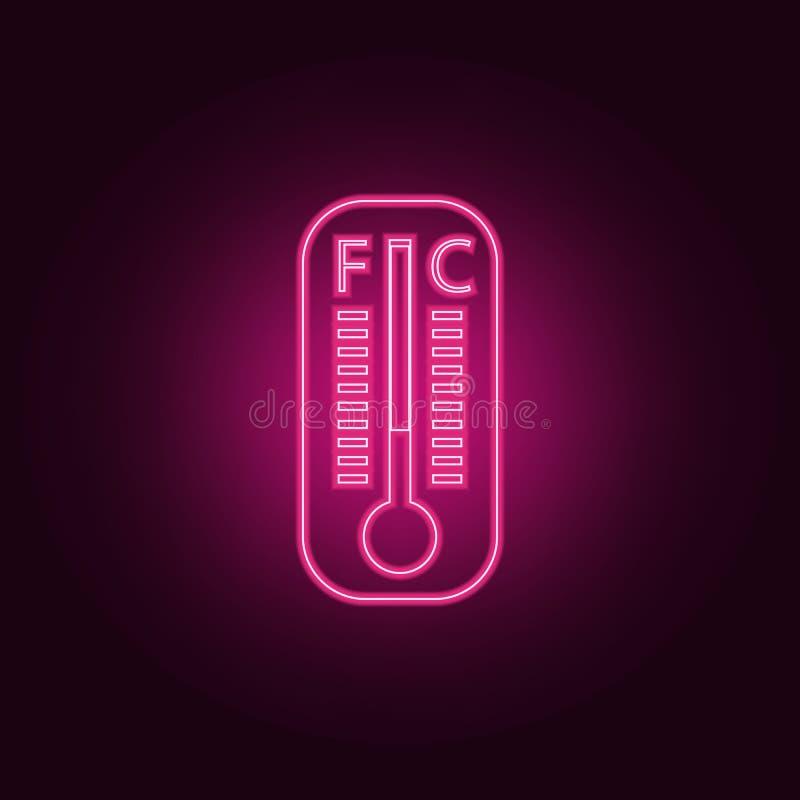 Icône de thermomètre à mercure Éléments des éléments de mesure dans les icônes au néon de style Icône simple pour des sites Web,  illustration stock