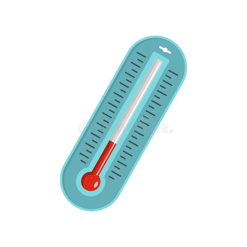 Icône de thermomètre de fièvre, style plat illustration libre de droits