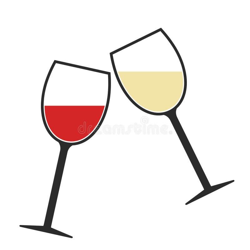 Icône de tintement en verre de vin rouge et blanc d'isolement, acclamations illustration de vecteur