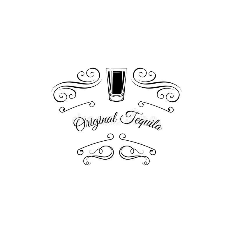 Icône de tir de tequila Éléments décoratifs, switls, cadre fleuri en filigrane Texte original de tequila Insigne de boissons d'al illustration de vecteur