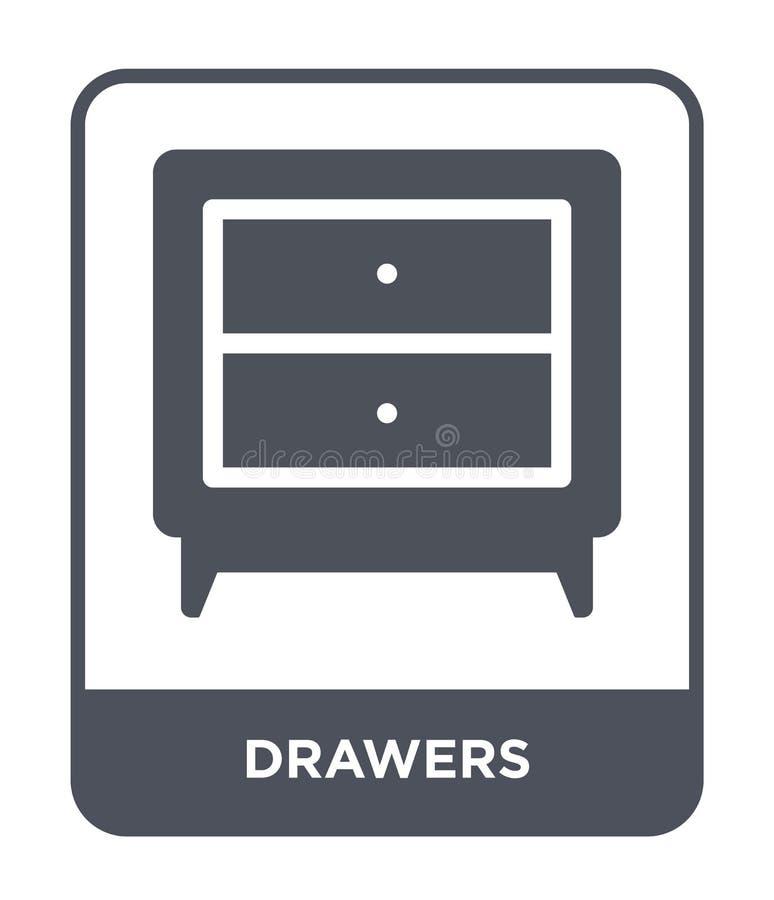 icône de tiroirs dans le style à la mode de conception icône de tiroirs d'isolement sur le fond blanc symbole plat simple et mode illustration stock