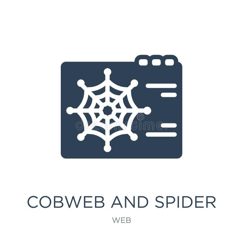 icône de toile d'araignée et d'araignée dans le style à la mode de conception icône de toile d'araignée et d'araignée d'isolement illustration de vecteur