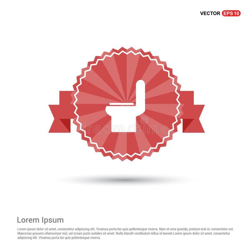 icône de toilette de commode - bannière rouge de ruban illustration libre de droits