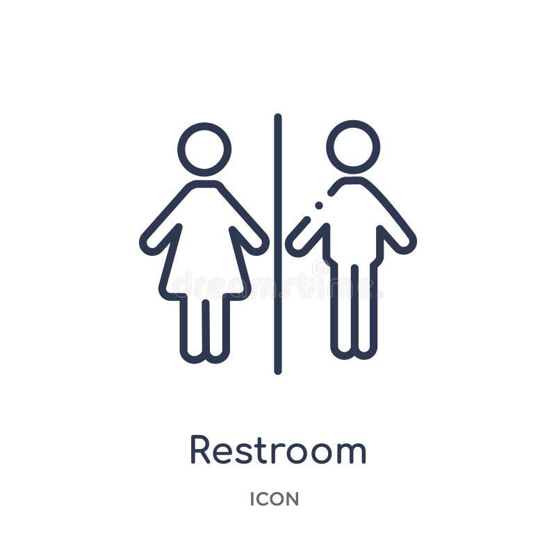 Icône de toilettes de collection d'ensemble de musée Ligne mince icône de toilettes d'isolement sur le fond blanc illustration stock