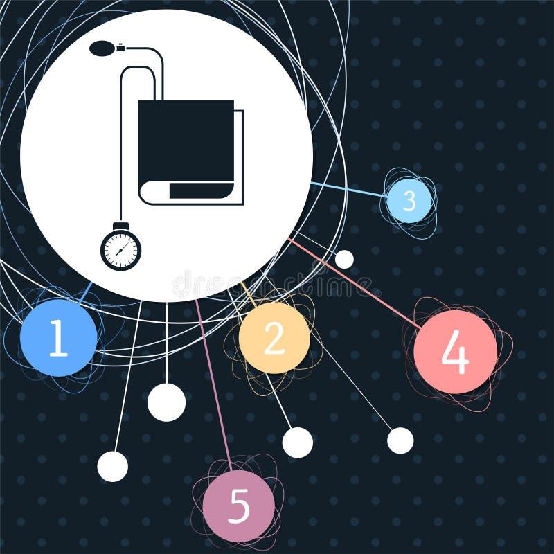 Icône de Tonometer Contrôleur de tension artérielle avec le fond au point et au style infographic illustration libre de droits