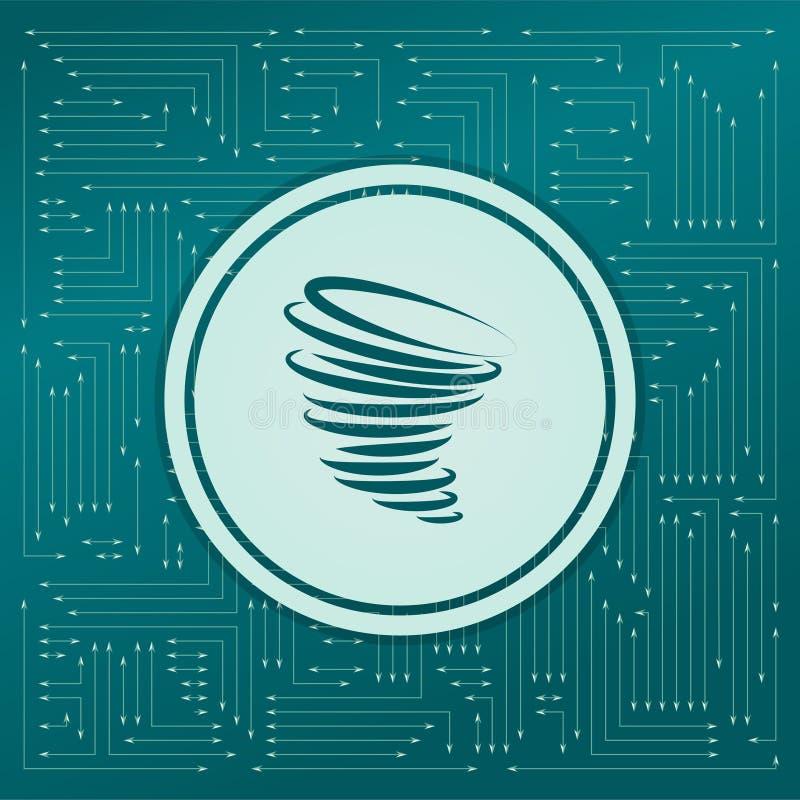 Icône de tornade sur un fond vert, avec des flèches dans différentes directions Il apparaît sur le conseil électronique illustration de vecteur