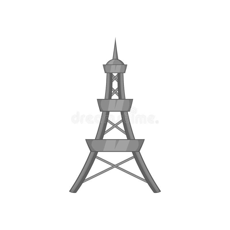 Icône de tour de téléphone portable, style monochrome noir illustration stock