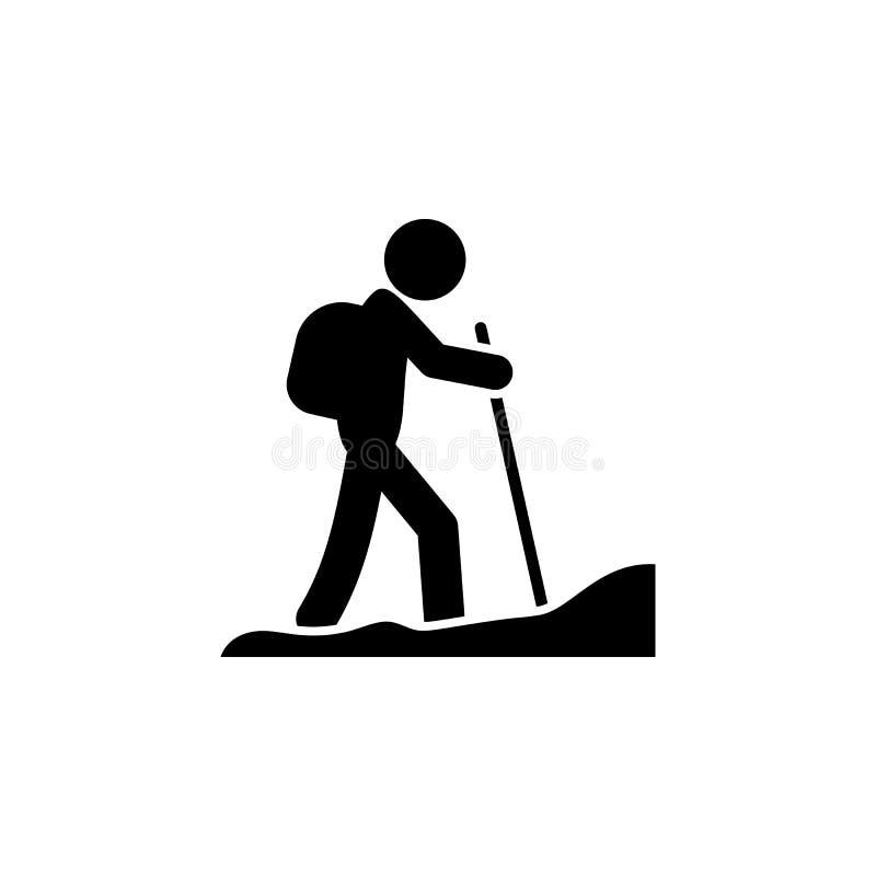 Icône de touristes de noir de randonneur illustration libre de droits