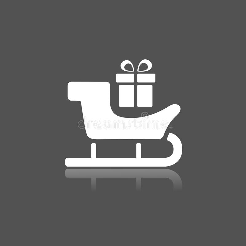 Icône de traîneau avec le cadeau et réflexion sur le fond noir illustration de vecteur