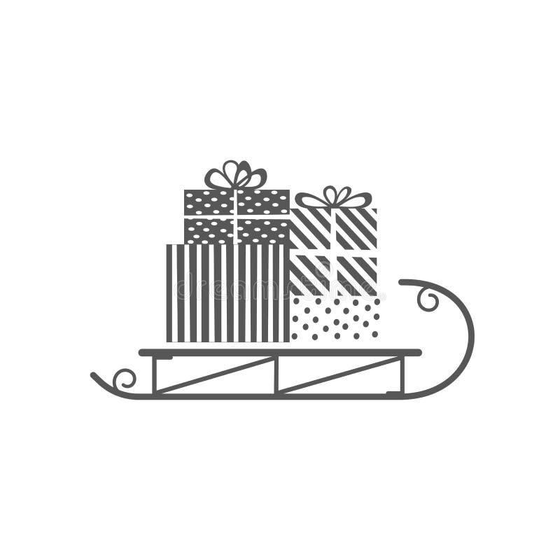 Icône de traîneau de Noël illustration stock