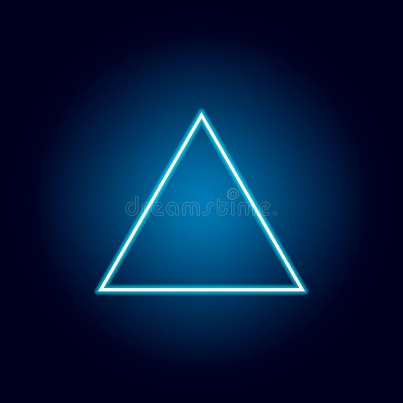 icône de triangle équilaterale dans le style au néon Chiffre g?om?trique ?l?ment pour les apps mobiles de concept et de Web Ligne illustration stock