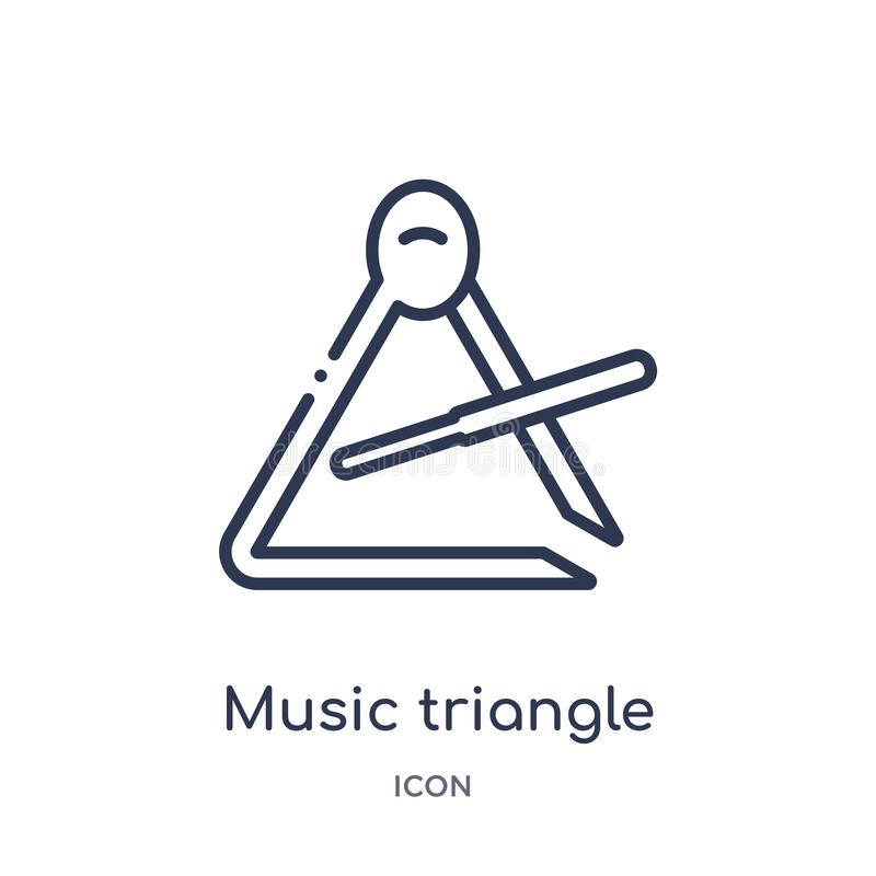 Icône de triangle de musique de collection d'ensemble de musique Ligne mince icône de triangle de musique d'isolement sur le fo illustration libre de droits