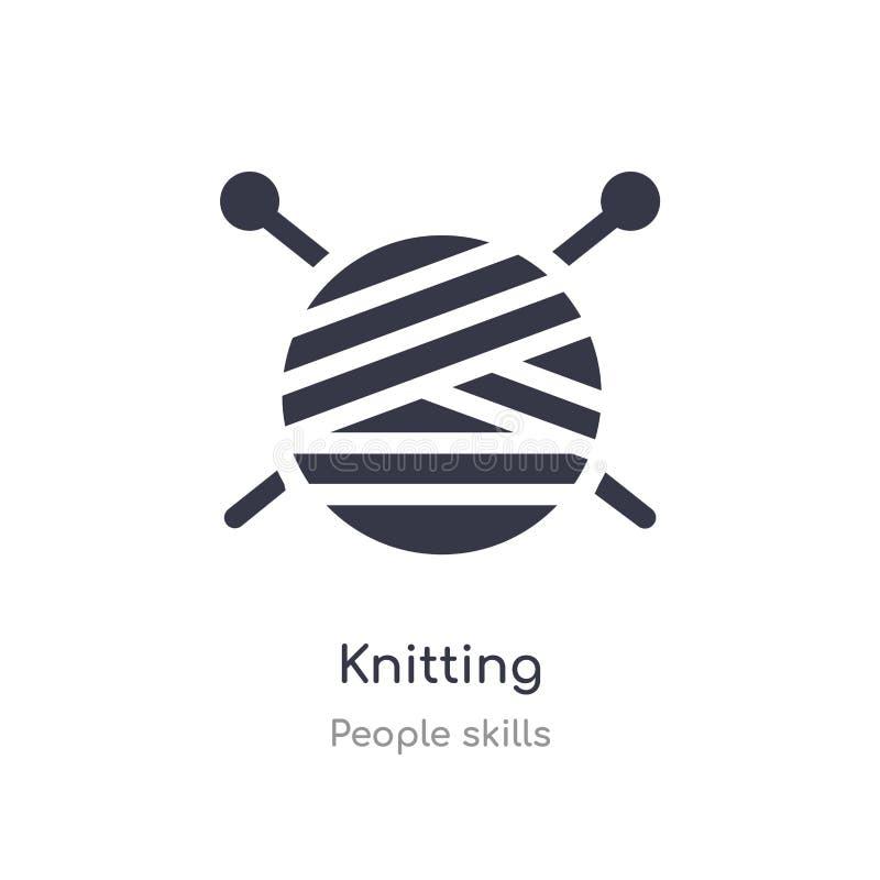 icône de tricotage d'ensemble ligne d'isolement illustration de vecteur de collection de qualifications de personnes icône de tri illustration libre de droits