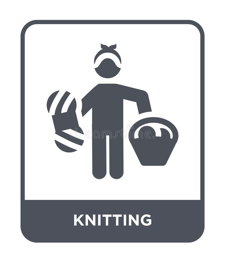 icône de tricotage dans le style à la mode de conception icône de tricotage d'isolement sur le fond blanc appartement simple et m illustration de vecteur