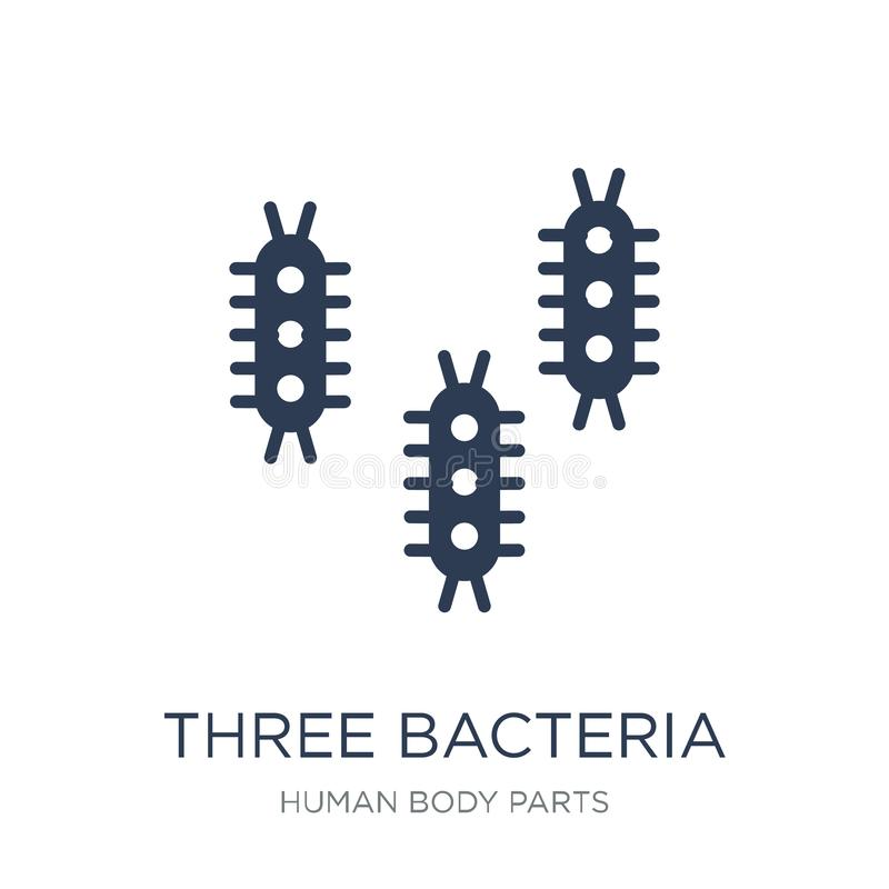 Icône de trois bactéries Icône plate à la mode de bactéries du vecteur trois sur W illustration libre de droits