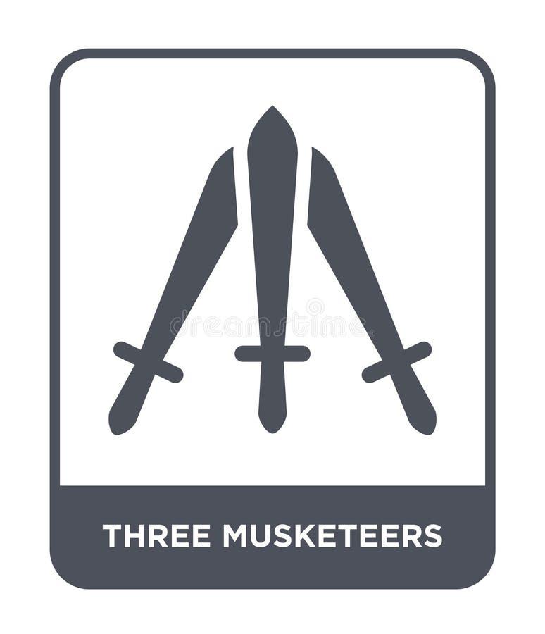 icône de trois mousquetaires dans le style à la mode de conception icône de trois mousquetaires d'isolement sur le fond blanc tro illustration libre de droits