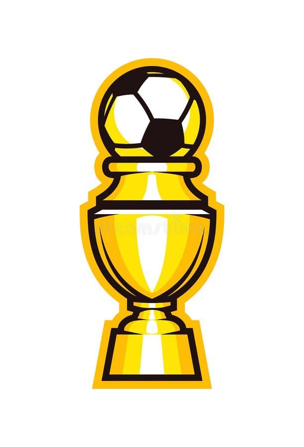 Icône de trophée du football de tasse d'or Gobelet du football illustration stock