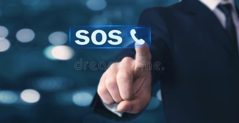 Icône de tube de téléphone de pressing de main d'homme sos photo libre de droits
