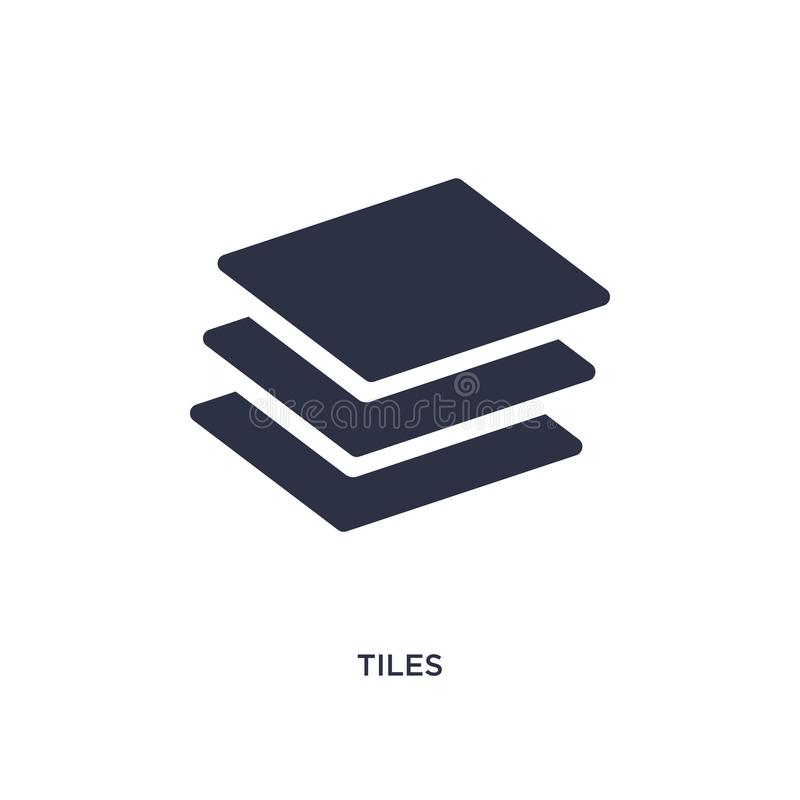 icône de tuiles sur le fond blanc Illustration simple d'élément de concept d'outils de construction illustration libre de droits
