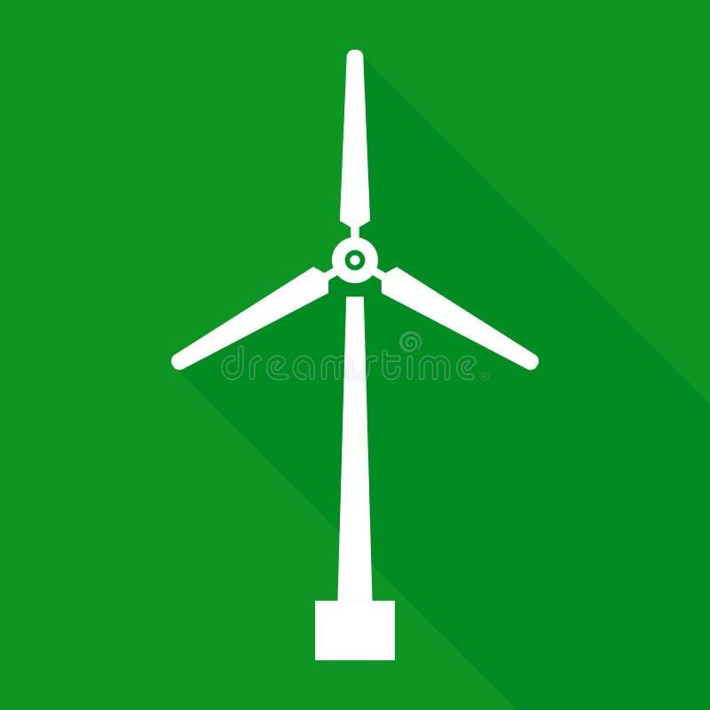 Icône de turbine de vent avec la longue ombre, symbole vert d'énergie, silhouette de moulin à vent, blanc d'isolement sur le fond illustration de vecteur