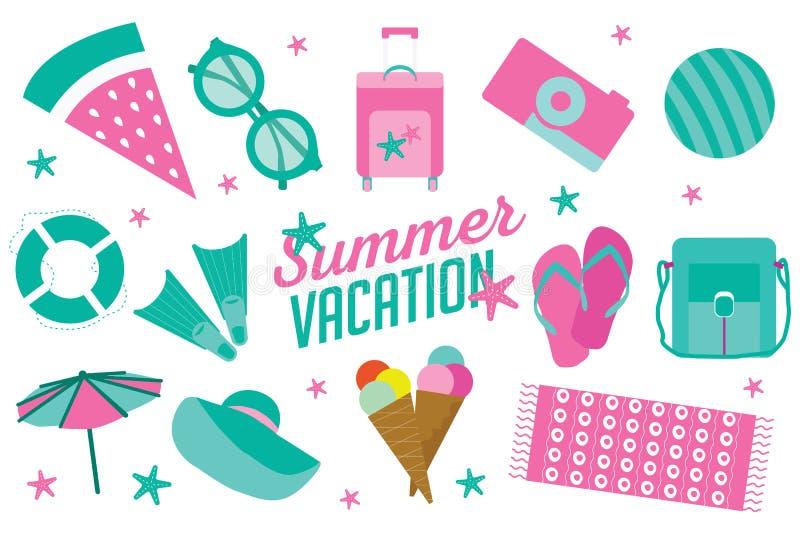Icône de vacances d'été réglée dans le style plat de bande dessinée illustration stock