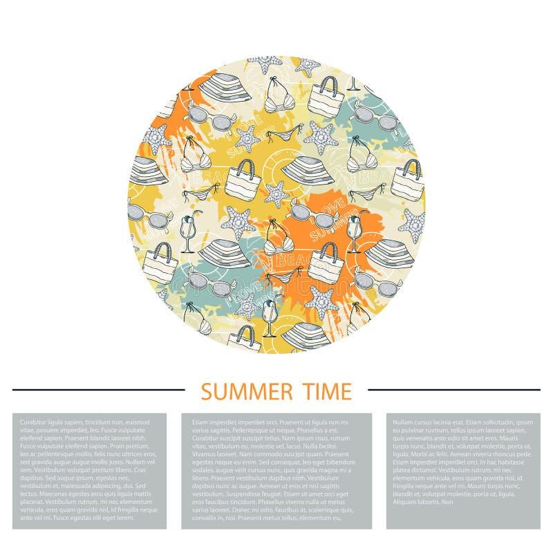 Icône de vacances d'été, signe, symbole, pictogramme sur un cercle illustration stock
