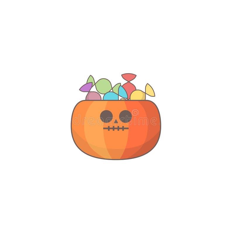 Icône de vacances de Halloween, sac de sucrerie de potiron illustration de vecteur