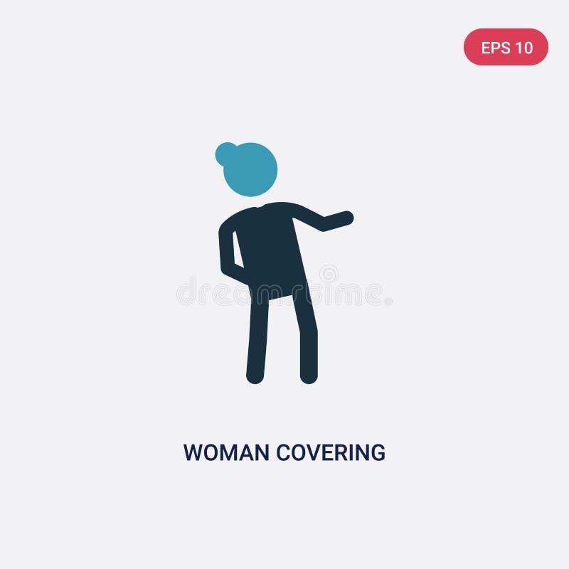 Icône de vecteur de bâche de femme de deux couleurs de concept de personnes le symbole bleu d'isolement de signe de vecteur de bâ illustration libre de droits