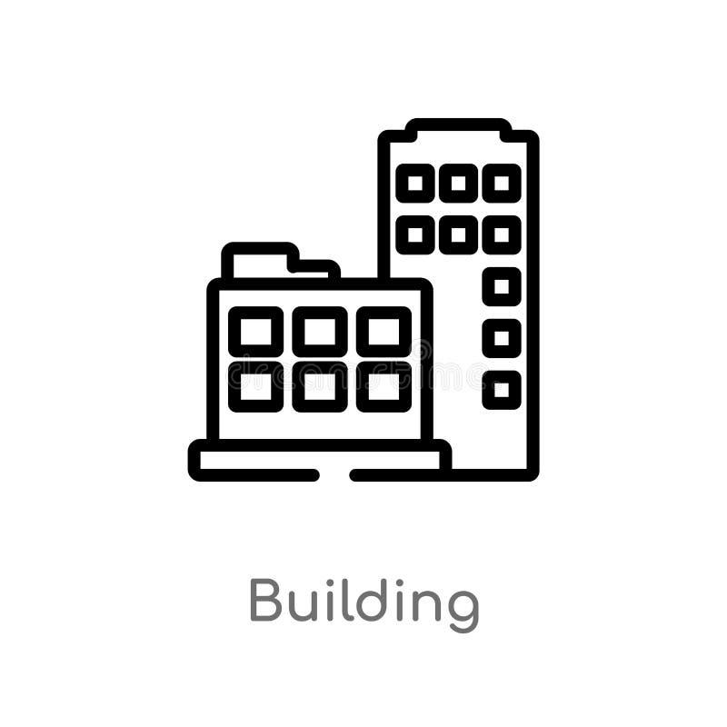 icône de vecteur de bâtiment d'ensemble ligne simple noire d'isolement illustration d'élément de concept de stratégie Course Edit illustration libre de droits