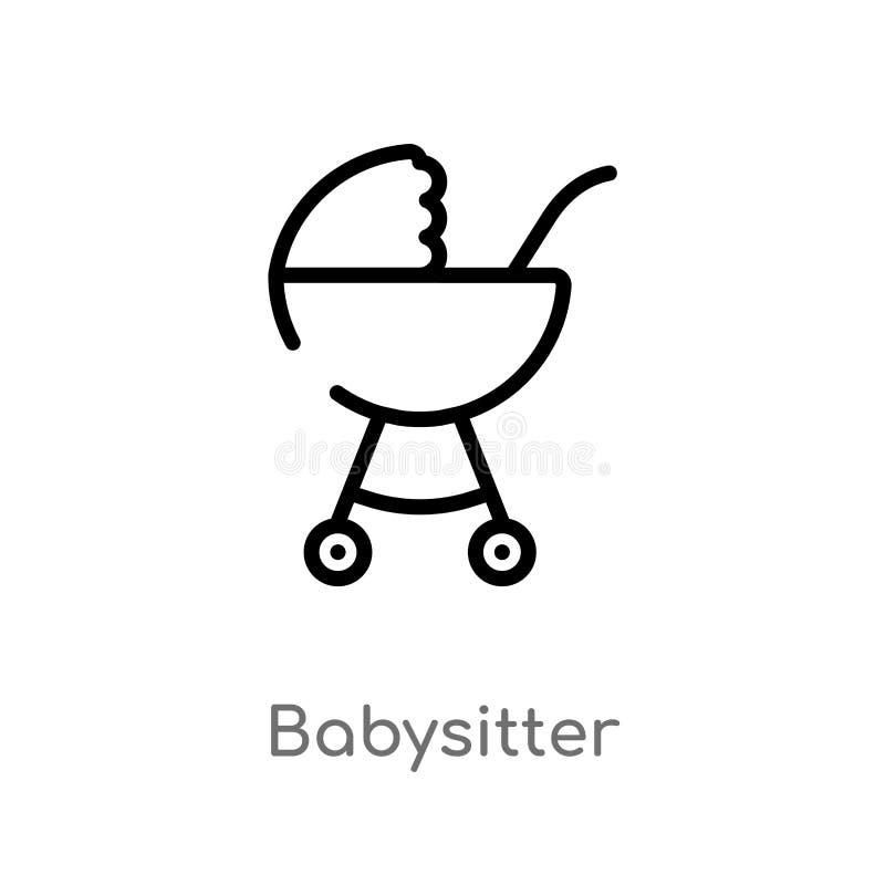 icône de vecteur de babysitter d'ensemble ligne simple noire d'isolement illustration d'?l?ment de concept de transport Course Ed illustration stock