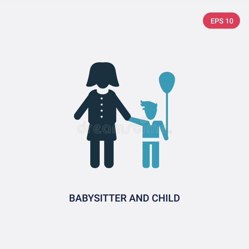 Icône de vecteur de babysitter et d'enfant de deux couleurs de concept de personnes le symbole bleu d'isolement de signe de vecte illustration de vecteur